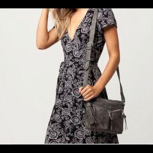 {Violet Ray} Raven grey vegan suede crossbody bag